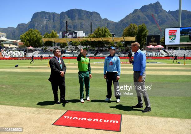 Quinton de Kock of South Africa and Eoin Morgan of England at the toss prior to the First One Day International match between South Africa and...
