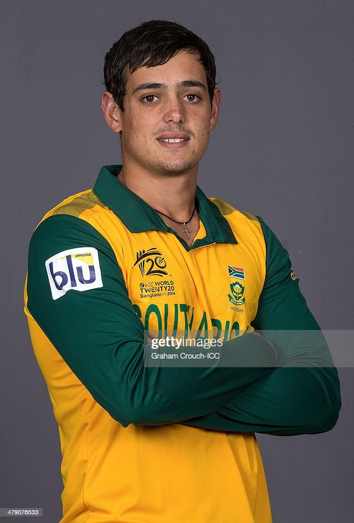 Quinton de Kock of South Africa at the headshot session at the Pan Pacific Hotel, Dhaka in the lead up to the ICC World Twenty20 Bangladesh 2014 on March 16, 2014 in Dhaka, Bangladesh.