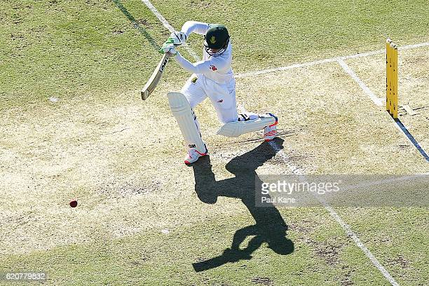 Quinton de Kock of South Africa bats during day one of the First Test match between Australia and South Africa at the WACA on November 3 2016 in...