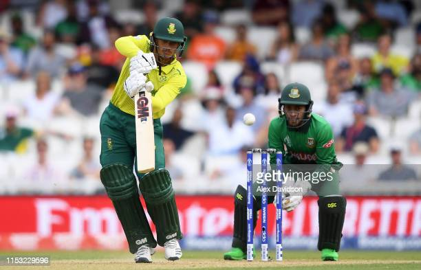 Quinton De Kock of South Africa bats during the Group Stage match of the ICC Cricket World Cup 2019 between South Africa and Bangladesh at The Oval...