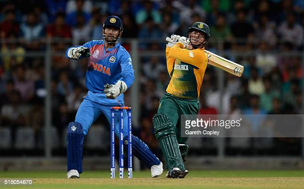 Quinton de Kock of South Africa bats during the ICC Twenty20 World Cup warm up match between India and South Africa at Wankhede Stadium on March 12...