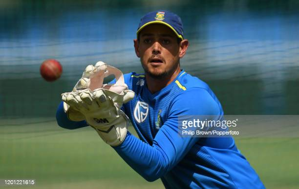 Quinton de Kock of South Africa catches a ball at the Wanderers during a training session before the fourth Test match against England on January 22...