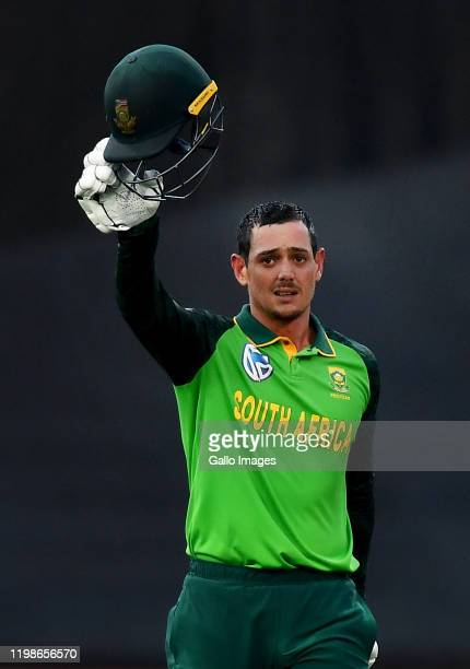 Quinton de Kock of South Africa celebrate after scoring a century during the 1st ODI match between South Africa and England at Newlands Cricket...
