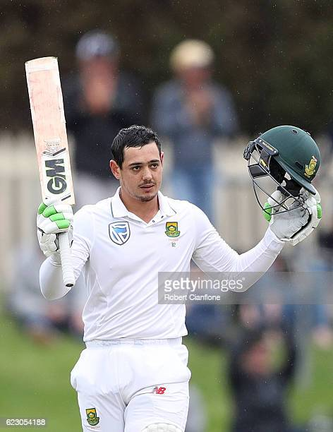 Quinton de Kock of South Africa celebrates after reaching his century during day three of the Second Test match between Australia and South Africa at...