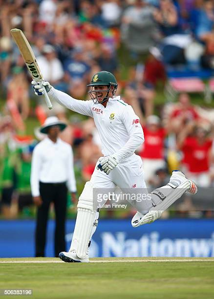Quinton de Kock of South Africa celebrates his century during day two of the 4th Test at Supersport Park on January 23 2016 in Centurion South Africa