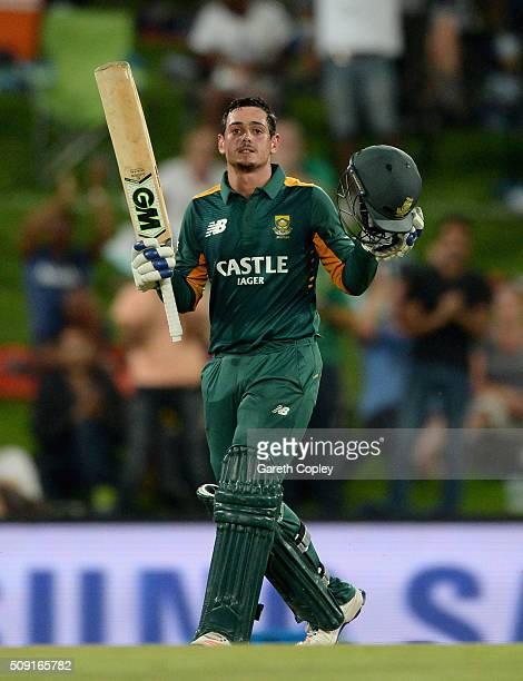 Quinton de Kock of South Africa celebrates reaching his century during the 3rd Momentum ODI match between South Africa and England at Supersport Park...