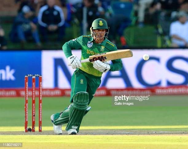 Quinton de Kock of South Africa during the 4th Momentum ODI match between South Africa and Sri Lanka at St Georges Park on March 13 2019 in Port...