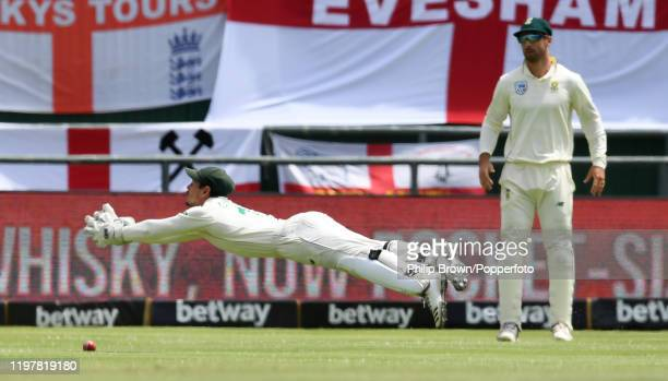 Quinton de Kock of South Africa fails to get to a catch from the bat of Ben Stokes during Day Four of the Second Test between England and South...