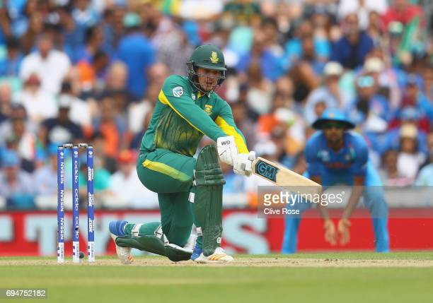 Quinton de Kock of South Africa in action during the ICC Champions trophy cricket match between India and South Africa at The Oval in London on June...