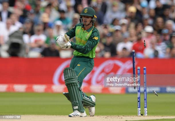 Quinton de Kock of South Africa is bowled during the ICC Cricket World Cup Group Match between New Zealand and South Africa at Edgbaston on June 19...