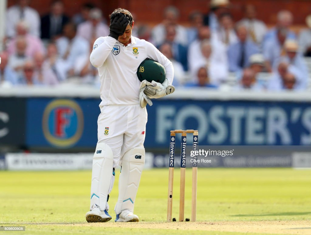 Quinton de Kock of South Africa reacts after his stumping of Joe Root is disallowed due to it being a no ball during day one of the 1st Investec Test match between England and South Africa at Lord's Cricket Ground on July 6, 2017 in London, England.