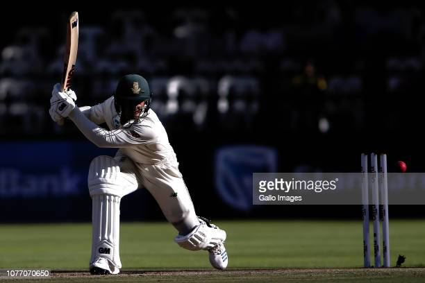 Quinton de Kock of South Africa square drives a delivery during day 2 of the 2nd Castle Lager Test match between South Africa and Pakistan at PPC...