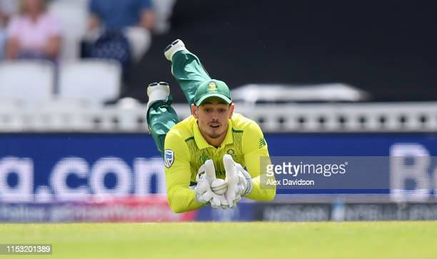 Quinton De Kock of South Africa takes the catch of Soumya Sarkar of Bangladesh during the Group Stage match of the ICC Cricket World Cup 2019 between...