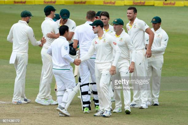 Quinton de Kock of the Proteas and Cameron Bancroft of Australia during day 5 of the 1st Sunfoil Test match between South Africa and Australia at...