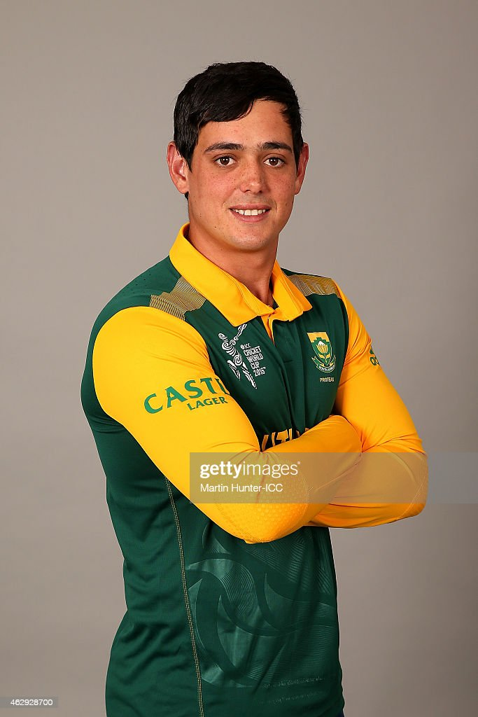 Quinton de Kock poses during the South Africa 2015 ICC Cricket World Cup Headshots Session at the Rydges Latimer on February 7, 2015 in Christchurch, New Zealand.