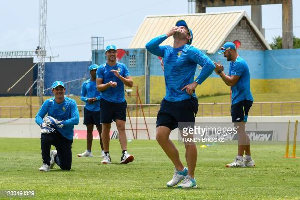 Quinton de Kock , Wiaan Mulder , Dean Elgar and Aiden Markram of South Africa train two days ahead of the 2nd Test between South Africa and West...