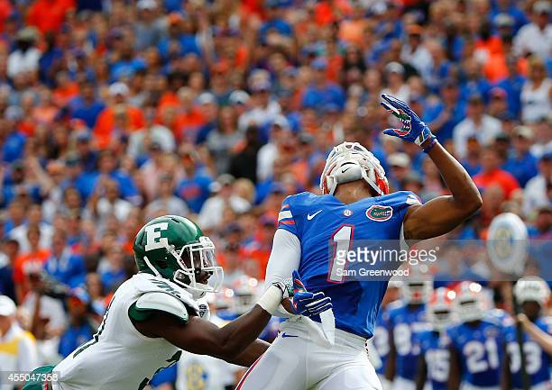 Quinton Dunbar of the Florida Gators attempts a reception during the game against the Eastern Michigan Eagles at Ben Hill Stadium on September 6 2014...