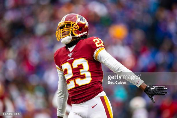 Quinton Dunbar of the Washington Redskins celebrates a incomplete pass by the Buffalo Bills during the fourth quarter at New Era Field on November 3...
