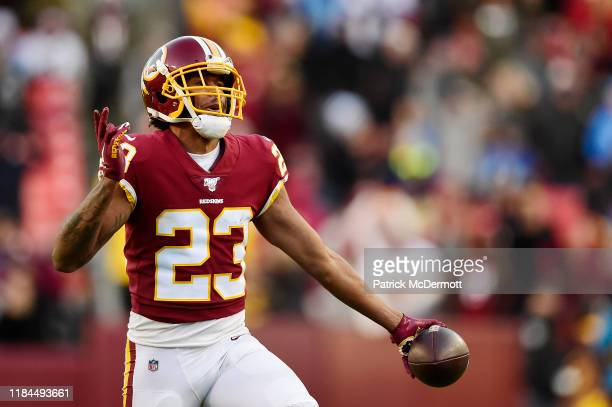 Quinton Dunbar of the Washington Redskins celebrates after intercepting a pass by Jeff Driskel of the Detroit Lions in the second half at FedExField...