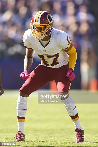 Quinton Dunbar of the Washington Redskins in position during a football game against the Baltimore Ravens at M T Stadium on October 9 2016 in...