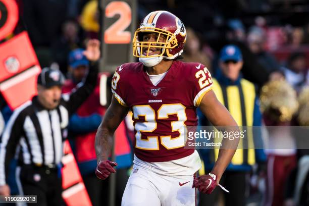 Quinton Dunbar of the Washington Redskins reacts after a play against the Detroit Lions during the second half at FedExField on November 24 2019 in...