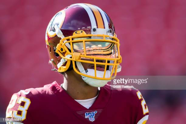 Quinton Dunbar of the Washington Redskins warms up before the game against the Detroit Lions at FedExField on November 24 2019 in Landover Maryland