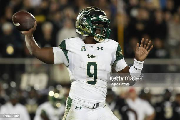 Quinton Flowers of the South Florida Bulls throws the ball during the second half against the UCF Knights at Spectrum Stadium on November 24 2017 in...