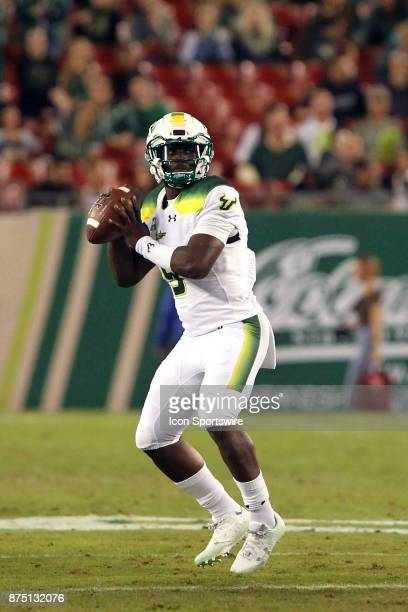 Quinton Flowers of USF throws the ball deep downfield for the touchdown to Darnell Salomon during the first half of the game between the Tulsa Golden...