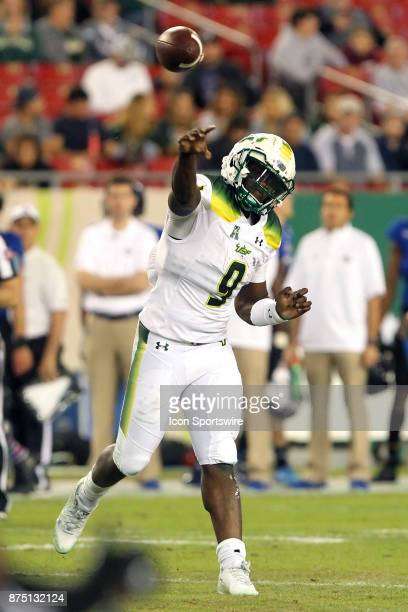 Quinton Flowers throws the ball upfield during the first half of the game between the Tulsa Golden Hurricane and the USF Bulls on November 16 at...
