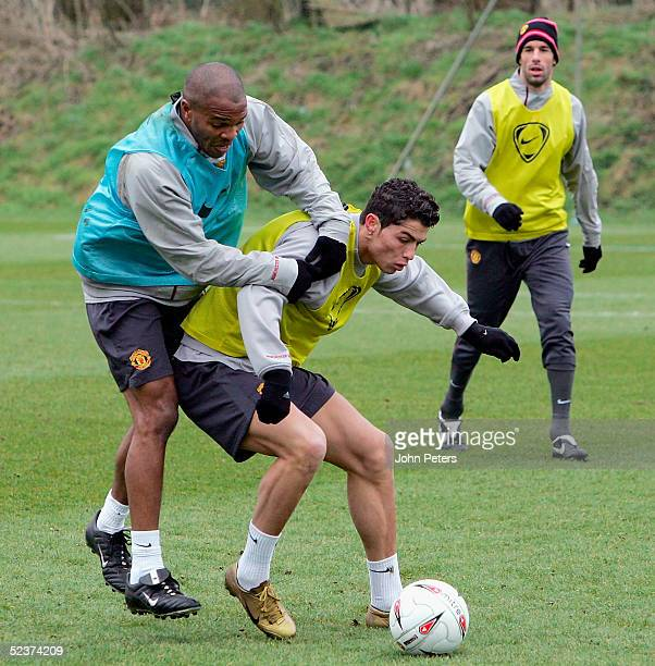 Quinton Fortune and Cristiano Ronaldo of Manchester United in action during a first team training session at Carrington Training Ground on 11 March...