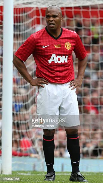 Quinton Fortune in action for the MU Foundation Charity Legends match between Manchester United Legends and Real Madrid Legends at Old Trafford on...