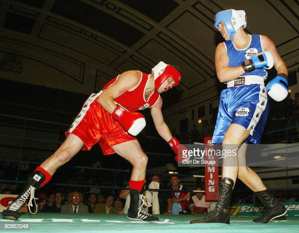Quinton Hann and Mark King are seen boxing during the Associationsanctioned fight of Quentin Hann v Mark King at York Hall on June 11 2004 in Bethnal...