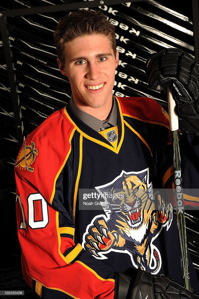 Quinton Howden, drafted 25th overall by the Florida Panthers, poses on stage during the 2010 NHL Entry Draft at Staples Center on June 25, 2010 in Los Angeles, California.