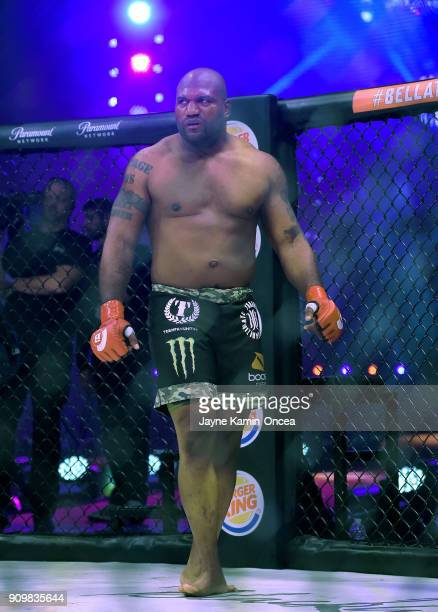 Quinton Jackson in the cage as he is introduced for his Heavyweight World Title fight at Bellator 192 against hael Sonnen at The Forum on January 20...