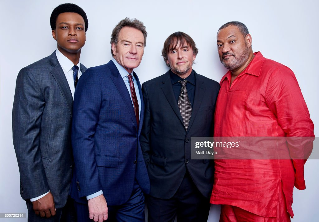J. Quinton Johnson, Richard Linklater, Laurence Fishburne and Bryan Cranston of the film 'Last Flag Flying' pose for a portrait at the 55th New York Film Festival on September 28, 2017.