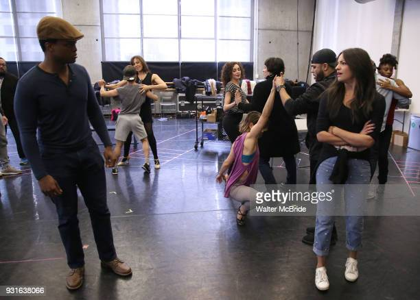 J Quinton Johnson with cast during the Broadway Center Stage Rehearsal for 'In the Heights' on March 13 2018 at Baryshnikov Arts Center in New York...
