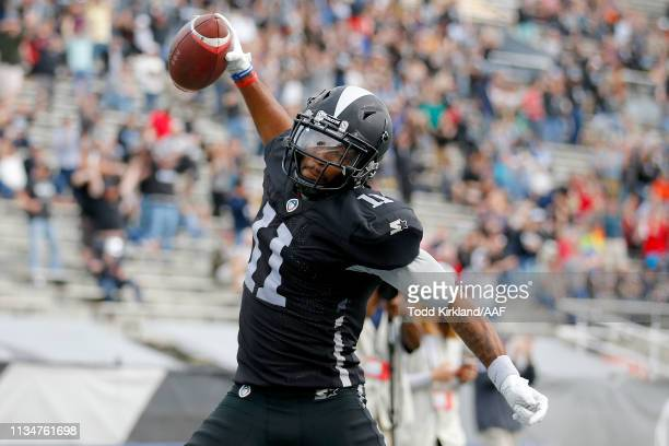 Quinton Patton of Birmingham Iron celebrates after scoring a two point conversion against the Orlando Apollos during their Alliance of American...