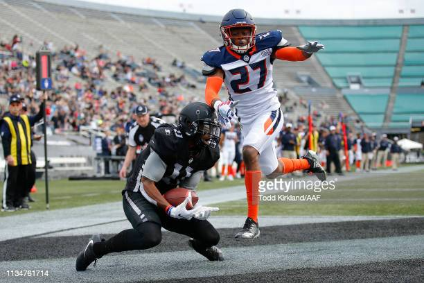 Quinton Patton of Birmingham Iron scores a two point conversion against the Orlando Apollos during their Alliance of American Football game at Legion...
