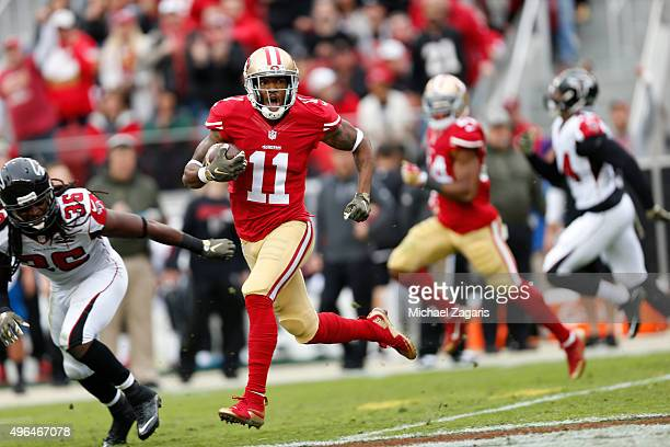 Quinton Patton of the San Francisco 49ers goes for a gain of 71yards on a reception during the game against the Atlanta Falcons at Levi Stadium on...