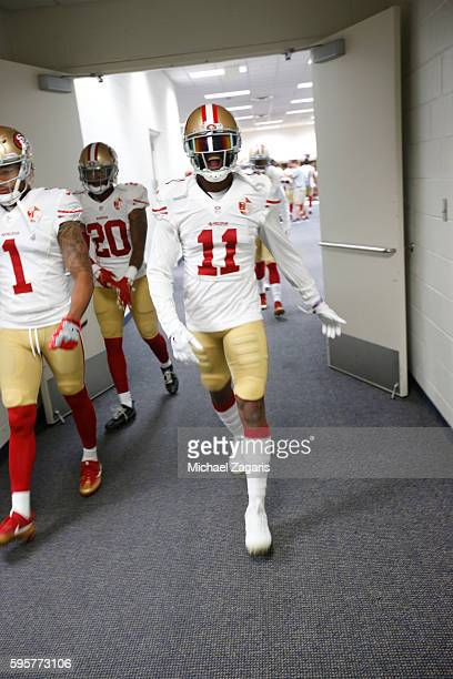 Quinton Patton of the San Francisco 49ers heads to the field prior to the game against the Denver Broncos at Sports Authority Field on August 20 2016...