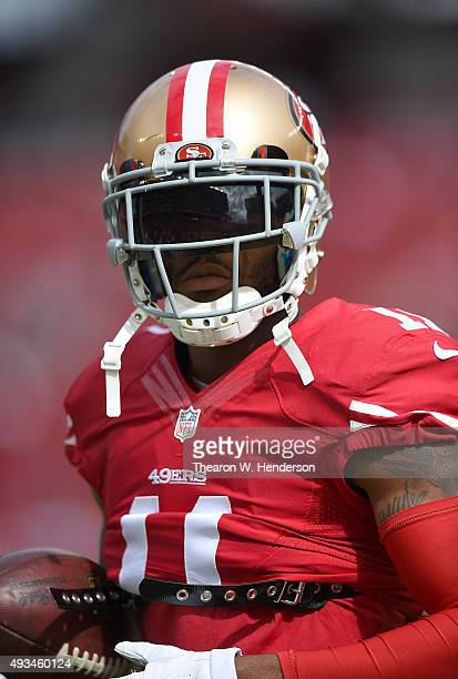 Quinton Patton of the San Francisco 49ers looks on during pregame warm ups prior to playing the Baltimore Ravens in an NFL game at Levi's Stadium on...