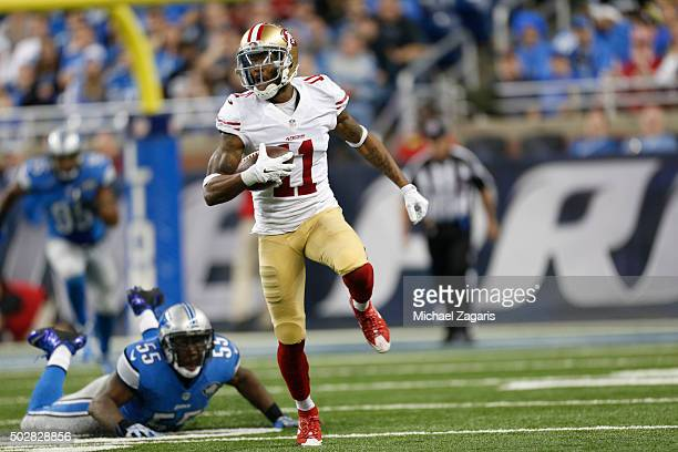 Quinton Patton of the San Francisco 49ers runs after making a reception during the game against the Detroit Lions at Ford Field on December 27 2015...