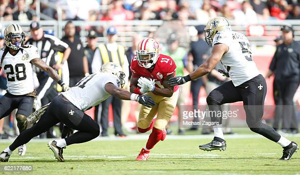 Quinton Patton of the San Francisco 49ers runs after making a recpiton during the game against the New Orleans Saints at Levi Stadium on November 6...