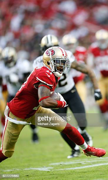 Quinton Patton of the San Francisco 49ers runs after making a reception during the game against the New Orleans Saints at Levi Stadium on November 6...