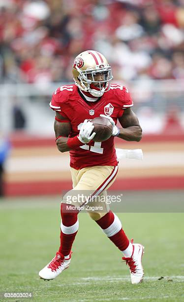 Quinton Patton of the San Francisco 49ers runs after making a reception during the game against the New York Jets at Levi Stadium on December 11 2016...