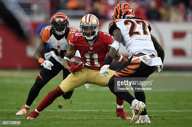 Quinton Patton of the San Francisco 49ers runs with the ball after a catch against the Cincinnati Bengals during their NFL game at Levi's Stadium on...