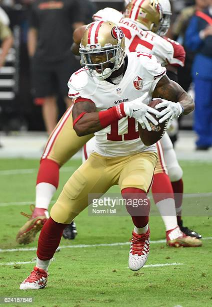 Quinton Patton of the San Francisco 49ers runs with the ball against the Arizona Cardinals at University of Phoenix Stadium on November 13 2016 in...