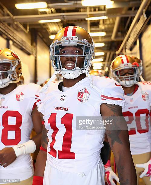 Quinton Patton of the San Francisco 49ers waits in the tunnel before walking out onto the field before the start of NFL game action against the...