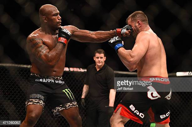 Quinton 'Rampage' Jackson of the United States punches Fabio Maldonado of Brazil in their UFC catchweight bout during the UFC 186 event at the Bell...