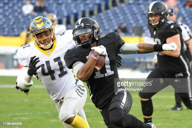 QuintonPatton of the Birmingham Iron runs with the ball during the first half against the San Diego Fleet in an Alliance of American Football game...